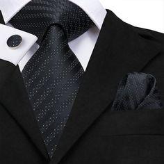 Hi-Tie set includes Neck Tie.Pocket Square (Handkerchief) Hanky Cufflinks 100% high quality silk Mens Fashion Suits, Mens Suits, Groom Suits, Groom Attire, Tie And Pocket Square, Pocket Squares, Cufflink Set, Blue Ties, Black Suits