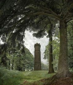 Keiths Tower, Banchory, Aberdeenshire. 50' tall octagonal stone tower with spiral stairs to lookout. Built 1825