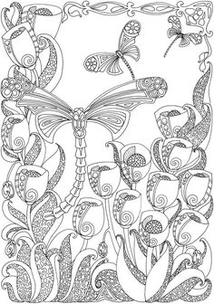 Creative Haven Entangled Dragonflies Coloring Book (Adult Coloring) Animal Coloring Pages, Coloring Pages To Print, Free Printable Coloring Pages, Coloring Book Pages, Colorful Drawings, Colorful Pictures, Butterfly Coloring Page, Doodle Coloring, Alphabet Coloring