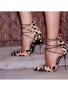 e073dd166449 Stylish Leopard Pointed-Toe Strappy Stiletto High Heels Prom Shoes Strappy  Sandals Heels