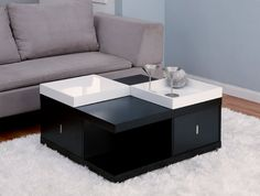 Furniture of America Morgan Square Coffee Table with Serving Tray, Black Enitial Lab Morgan Square Coffee Table with Serving Tray Enitial Lab Morgan Square Black Coffee Tables, Cool Coffee Tables, Coffee Table With Storage, Coffee Table Design, Modern Coffee Tables, Black Table, Table Storage, White Coffee, Modern Table