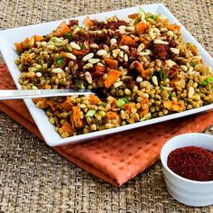 Recipe for Vegan Farro and Roasted Sweet Potato Salad with Pine Nuts and Tahini-Sumac Vinaigrette [from Kalyn's Kitchen] #HealthyThanksgiving