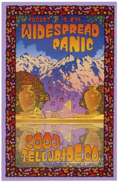 Concert poster for Widespread Panic in Telluride, Colorado in 2003. 11 X 17 card stock.