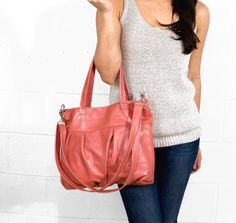 Mini Ruche Bag in Sea Coral Pink Leather  Ready to by jennyndesign, $212.00