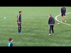 """This drill is designed to develop a players """"Selection Process"""" in passing. Players must turn quickly with the ball and play to the color that the server sho. Soccer Passing Drills, Football Training Drills, Hockey Drills, Soccer Skills, Soccer Tips, Football Soccer, Soccer Warm Ups, Soccer Workouts, Soccer Practice"""