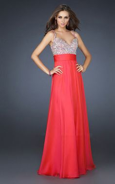 Watermelon Chiffon V neck Long Dress For Prom On Sale [Watermelon Chiffon V neck Long Dress] - $175.00 : Cheap Formal Dresses, Discounted Prom Dresses at DressesBarnCheap