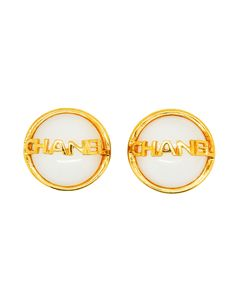 Chanel Vintage Signature White Glass Earrings - Amarcord Vintage Fashion  - 1