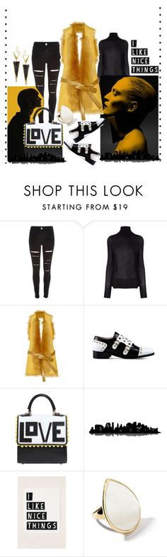 """""""Black and yellow"""" by obsessedaboutstyle ❤ liked on Polyvore featuring River Island, Crippen, Karl Donoghue, Boutique Moschino, Les Petits Joueurs, Universal Lighting and Decor, Ippolita and Lana"""