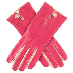 Women's Pink Silk Lined Leather Gloves with Cream Button Detail