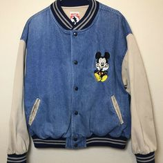 c7cd1c1ef4 Mickey Inc Men's Large Varsity Mickey Mouse Denim Letterman Jacket Made in  USA #Disney #