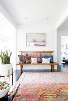 layered rugs in a bo