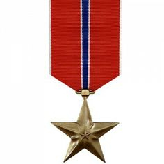 The Bronze Star Medal (BSM or BSV) is an award presented to United States Armed Forces personnel for bravery, acts of merit or meritorious service. When awarded for combat heroism it is awarded with a V device for Valor. It is the fourth highest combat award of the Armed Forces. Originally created in February of 1944, this medal was retroactively awarded to many WWII veterans.