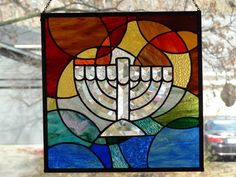 Beveled Chanukah Menorah - Delphi Stained Glass