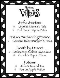 Disney Villains Menu ~ Movie night for the premier of The Disney Descendants Movie Villains Party, Disney Villains, Family Movie Night, Family Movies, Disney Descendants Movie, Disney Inspired Food, Disney Dinner, Movie Themes, Movie Ideas