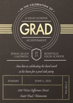 Share your achievement art deco style in a foil color of your choice. Add a stunning photo to complete this graduation invitation.