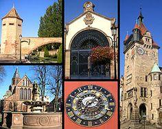 haguenau   De haut en bas, de gauche à droite:Tour des Pêcheurs - Halle aux houblons -Musée historique - Église Saint-Georges -Maison de la Chancellerie.