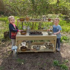 Outdoor Messy Play Wooden Mud Kitchen Get busy mixing, blending and creating concoctions at this robust wooden unit. Ideal as a mud kitchen or for an outdoor home corner. The post Outdoor Messy Play Wooden Mud Kitchen & kids appeared first on Get . Outdoor Play Kitchen, Mud Kitchen For Kids, Kids Outdoor Play, Outdoor Play Spaces, Outdoor Learning, Backyard For Kids, Diy Mud Kitchen, Kitchen Ideas, Natural Playground