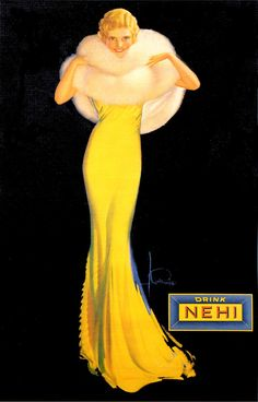 DRINK SODA NEHI ADVERTISING POSTER This is a current print which has been digitally edited and restored. The original ad was illustrated in 1929 By Rolf Armstrong. WORLDWIDE EXPRESS SHIPPING!! All orders require 1 or 2 Business day for processing and ship via Express Delivery.
