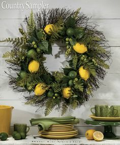 Revive an old wreath with a few fresh additions, such as faux lemons and limes, berry sprays and green leaves. Country Sampler, Country Primitive, Spring Wreaths, Christmas Wreaths, Country Wall Decor, Limes, Wreath Ideas, Sprays, Green Leaves