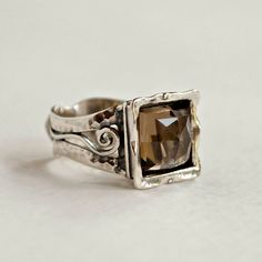 New Arrival-Square faceted smoky quartz and sterling silver ring