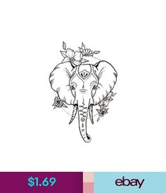 Temporary Tattoos Waterproof Temporary Fake Tattoo Stickers Cute Elephant Animals Cartoon #ebay #Fashion