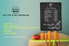Chalkboard Art Poster Wall Decor Paper Printables by paperglitter