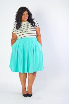 Plus Size Clothing for Women - J. Kane Mint Fresh Skirt (Sizes 14 - 32) - Society+ - Society Plus - Buy Online Now!