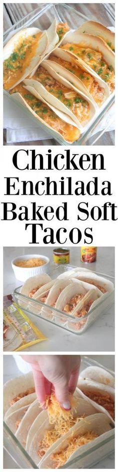 Chicken Enchilada Baked Soft Tacos @oldelpaso #sponsored