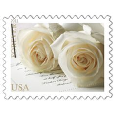 These would be beautiful for the bride and groom to mail special notes to each other, their parents or their weddign party!!!  This is the Wedding Roses (Forever) commemorative stamp (on LIstia)   On April 21, 2011, in Washington, DC, the Postal Service™ issued a Wedding Roses commemorative stamp (Forever®). The stamp, designed by Ethel Kessler, Bethesda, Maryland, features a photograph taken by Renee Comet of Washington, DC. The photograph shows two white roses gently resting atop a piece…