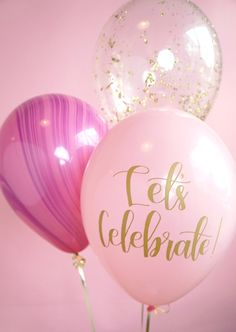 "personalised balloons Celebrate with a pink, purple and gold balloon trio! Balloon Trio includes: Gold Glam confetti balloon Pink + Purple marbled balloon ""Let's Cel 21st Birthday, Birthday Wishes, Girl Birthday, Birthday Parties, Happy Birthday Balloons, Birthday Ideas, Glitter Ballons, Pink Balloons, 21st Balloons"