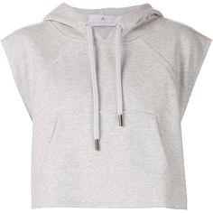 Adidas By Stella Mccartney Yo Crop Hoodie found on Polyvore featuring tops, hoodies, crop top, shirts, sweaters, grey, gray hoodie, cotton shirts, grey hoodie and adidas hoodies