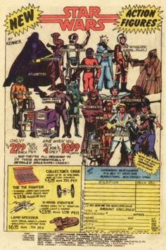 Star Wars action figure comic book ad from 1977