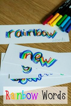 Rainbow words a simple literacy activity that can be used with children from toddler onwards. Use for pre-writing, letter formation, and spelling practice. via @rainydaymum
