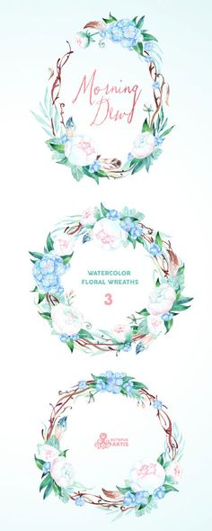 MorningDew. 3 Watercolor wreaths, wedding, invitation, floral frame, greeting card, diy, flowers, peonies, mint, blue, quotes, holiday. This set of high quality hand painted watercolor floral wreath in Hires. Perfect graphic for wedding invitations, greeting cards, photos, posters,