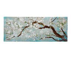 Lienzo sobre madera Flores, azul, verde y blanco - 150x60 cm