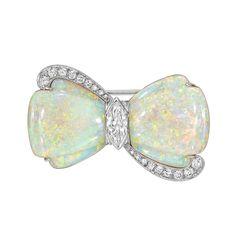 Estate Betteridge Collection Opal & Diamond Bow Pin (=)