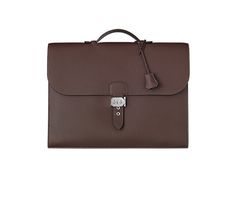 "Sac a Depeches Hermes briefcase in cocoa Togo calfskin. Measures 16"" x 12"" x 4"""