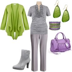 """plus size outfit"" by penny-martin on Polyvore no to lavender and green maybe instead black and pink or plum and brown"