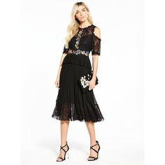 V By Very Embroidered Pleated Midi Dress ($80) ❤ liked on Polyvore featuring dresses, white lace dress, lace midi dress, floral dresses, midi dress and floral embroidered dress