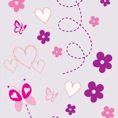 Papel de Parede Desenhos em Tons de Rosa e Violeta Sobre Lilás ...