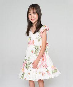 Look what I found on #zulily! White & Pink Floral Flutter-Sleeve Dress - Toddler & Girls #zulilyfinds