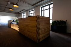 Check out Twitter's San Francisco headquarters! The wood in this reception desk was reclaimed from bowling alleys. Keeping it green.