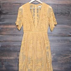 as you wish embroidered lace maxi dress (women) - mustard - shophearts - 1