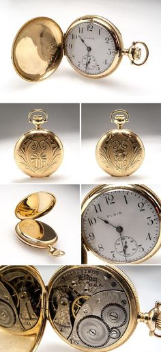 Ladies Antique Elgin Engraved Pocket Watch Highly Detailed 14K Gold -