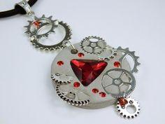 Halskette Glamor Steampunk in rot Betonschmuck am von ArtJewelryFun