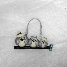 Christmas owl family ornament  Christmas tree by Wishcraft2013, £6.00