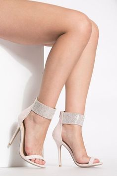 e3ccd12adf Nude Faux Suede Dazzled Ankle Strap Red High Heel Shoes, High Heel Pumps,  Pumps