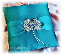 Teal Peacock Ring Bearer Pillow Wedding Pillow Ring ♥ by All4Brides, $45.00