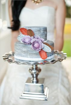purple and gray with a hint of orange wedding cake