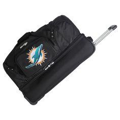NFL Miami Dolphins Mojo 27 Rolling Drop Bottom Duffle Bag
